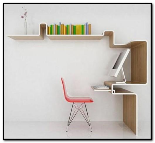 meja kerja menyatu dengan dinding