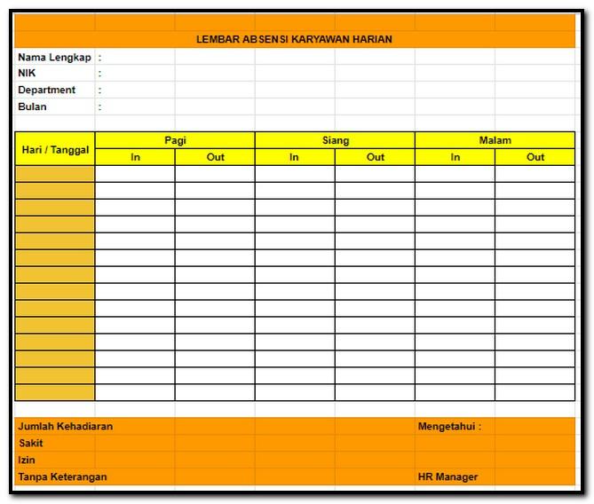 Contoh Format Lembar Absensi Karyawan Harian Manual Tips Kerja