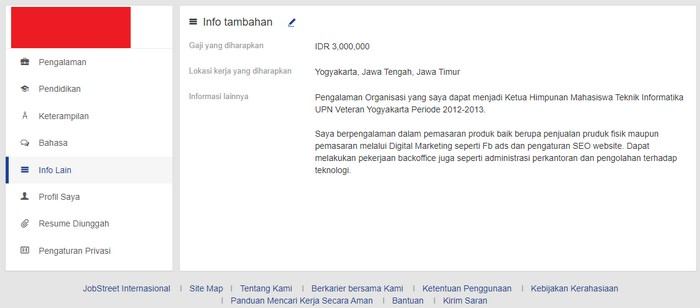 isi info lain di menu profile jobstreet agar lamaran kerja kamu detail