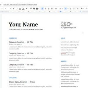 isikan profile cv kamu di template google docs