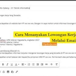 cara menanyakan lowongan kerja lewat email